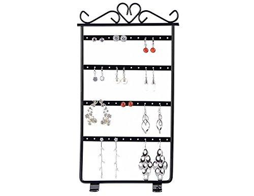 Earrings Holder Rack Jewelry Display Organizer Holder Stand Tower Metal 48 Holes,Black