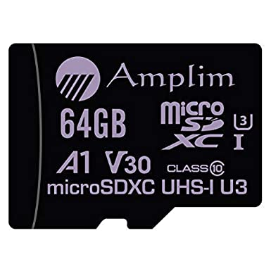 64GB Micro SD Card Plus Adapter Pack, Amplim 64 GB MicroSD SDXC Class 10 Pro U3 A1 V30 Extreme Speed 100MB/s UHS-I UHS-1 TF XC MicroSDXC Memory Card ...