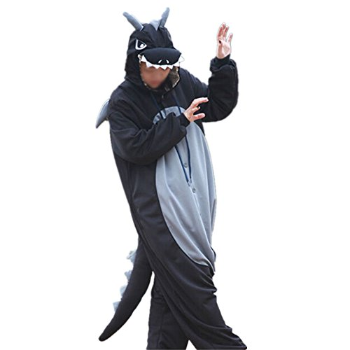 Lifeye Men Women Black Dragon Pajamas Animal Cosplay Costume with Horns Black