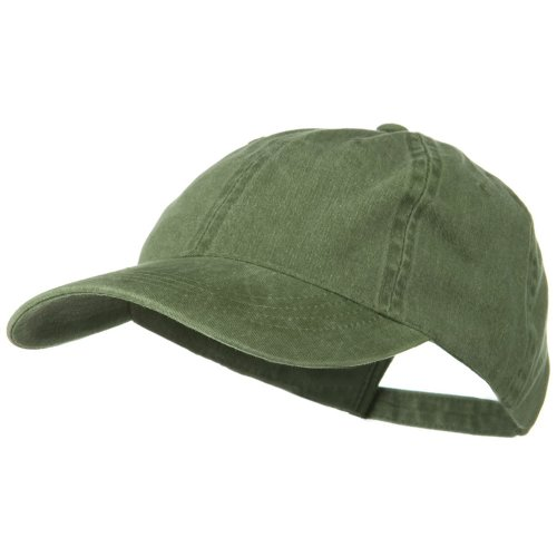 Washed Solid Pigment Dyed Cotton Twill Brass Buckle Cap - Olive (Olive Baseball Hat)