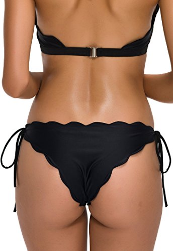 FanShou Women Brazilian Tie-side Scallop Cheeky String Bikini Bottom Black L