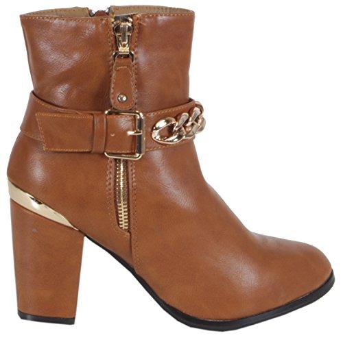 trendBOUTIQUE - Zapatillas de caña alta de material sintético mujer marrón - Metall Kette Hellbraun