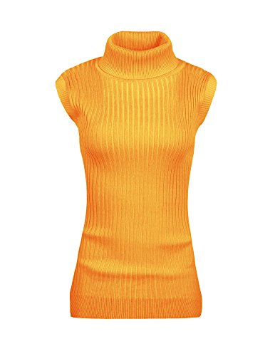 v28 Women's Ladies Juniors Sleeveless Mock Neck Turtleneck Tops Jumper Sweater (M, ()