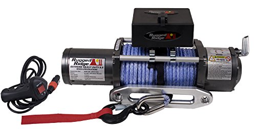 Rugged Ridge 15100.02 8,500 lbs. Winch with 23/64'' X 100' Synthetic Rope and Hawse Fairlead