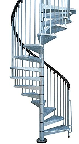 Arke Enduro 47u0026quot; Diameter Hot Dipped Galvanized Steel Outdoor Spiral  Staircase Kit (124u0026quot;