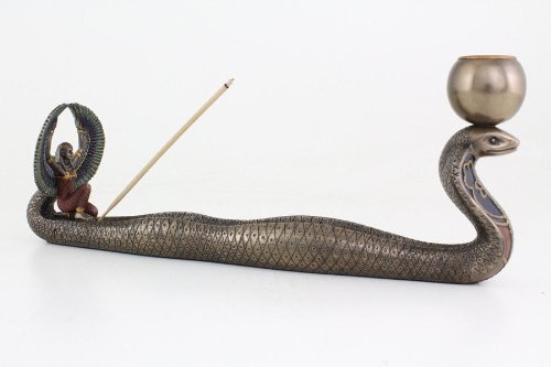 Isis and Cobra Incense and Candle Holder Statue Sculpture Figurine