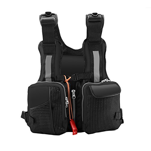 Kayak Fishing Vest - VGEBY Kayak Fishing Life Jacket Watersports Fly Fishing Vest with Multi-Pockets whistle and Reflective Stripe (Color : Black)