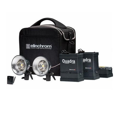 Elinchrom Quadra Hybrid Twin Set S, Includes Quadra Hybrid RX, RQ Lithium-Ion Battery, RQ Hybrid Action Head, EL-Skyport Transmitter, ProTec Bag Poly