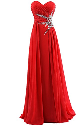 Kiss Girls Women's Sweetheart Beading Chiffon Long Prom Dress US4 Red