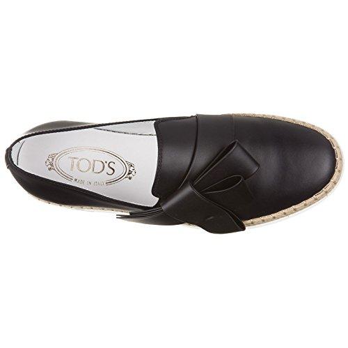 Donna on Fiocco Pelle Originali Tod's Sneakers Slip in Rafia Nuove Nero Gomma wRqxAfEx