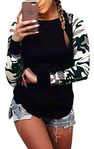 pissure Fashion Printemps Shirts Col Chemisier T Sweat et Automne Tops New Camouflage Femme Jumper Noir Longues Rond Tee Manches Shirts Blouse Haut wTzaFqPxn4