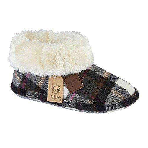 87b5bf263b98 Ladies Chiltern Jo   Joe Faux Suede Sheepskin Fur Collar Fleece Lined  Bootee Slippers Size 3-8 - Buy Online in UAE.