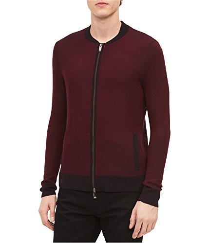 Calvin Klein Long Sleeve Cardigan - Calvin Klein Mens Italian Yarn Cardigan Sweater Red L