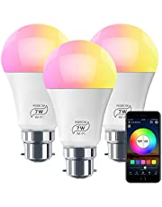 HaoDeng WiFi LED Light, 3Pack Smart Bulb -Timer& Sunrise& Sunset- Dimmable, Multicolor, Warm White (Color Changing Disco Ball Lamp) - 7W A19 B22(60W Equivalent), Compatible with Alexa, Google Home Assistant and IFTTT