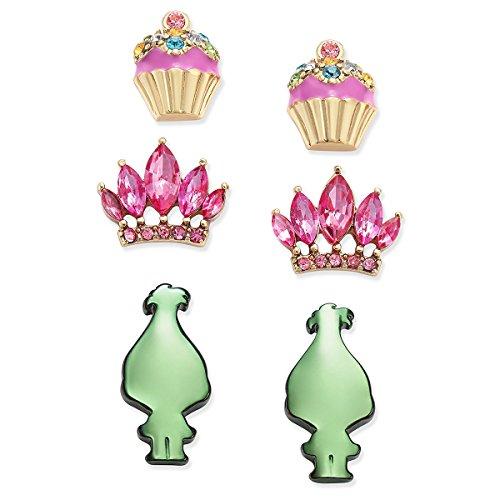 Betsey Johnson xox Trolls Stud Earrings Set with Cupcakes, Crown & Green Trolls (Set of 3) (Betsey Johnson Crown Ring)