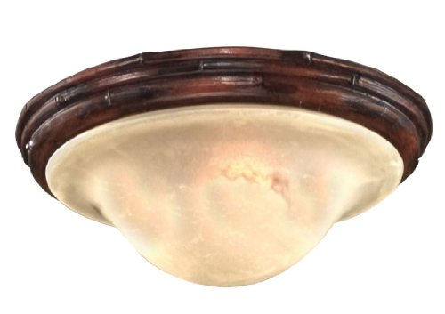 Savoy House KP-FLGC-080-04, 1-Light Barbados Light Kit with Cream Marble Glass, Dark Bamboo