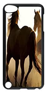 DIY Fashion Case for iPod Touch 5 Generation Black PC Case Back Cover for iPod Touch 5th with Cowboy And Horses