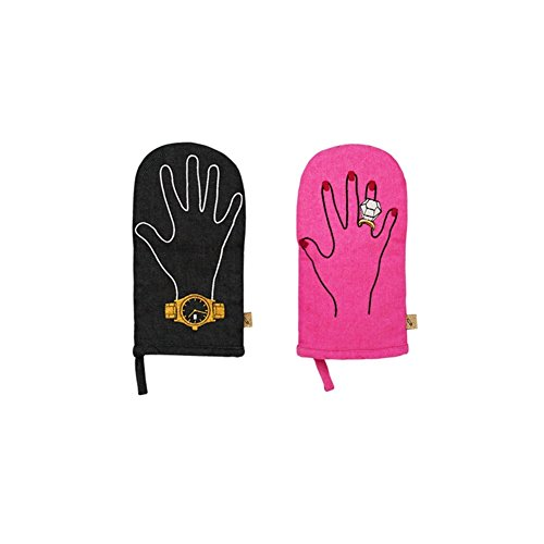 LMNOP MR&MRS Cooking Kitchen Gloves Set Black and Pink Oven Mitts PotHolders by Lmnop