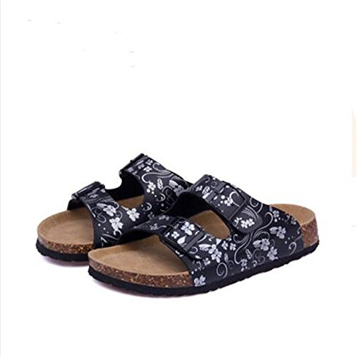 Sandals YaMiFan Strap 23 Buckle Double Cork Toe Sandals Slide Open Women's Footbed fqwfrExF