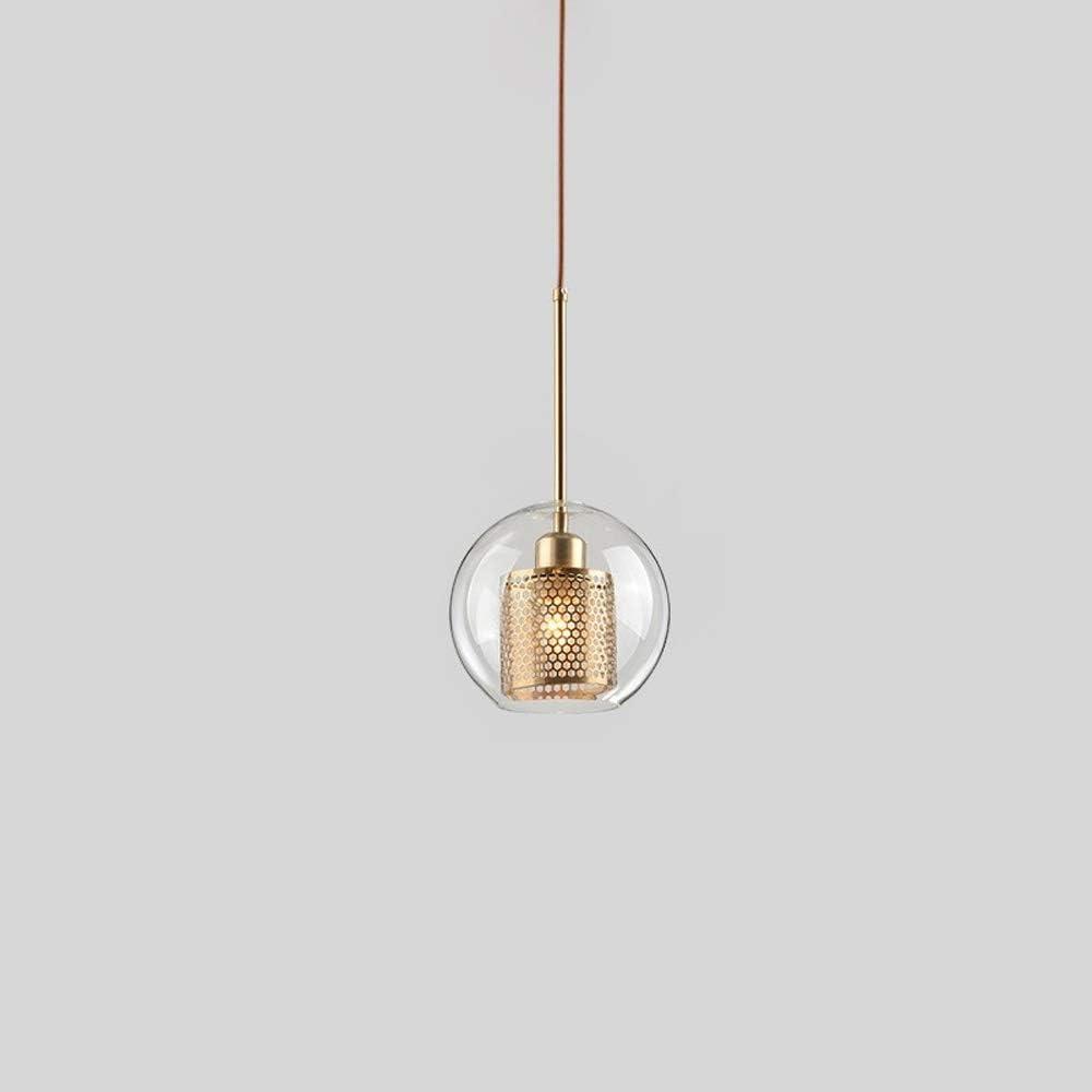 Bkrred Simple t/ête en Verre Lustre Moderne /Îlot de Cuisine Luminaire avec Verre Clair et m/étal int/érieur Ombre Industrielle 1 Lampe de Plafond for Cuisine Salon E27 dappareils d/éclairage
