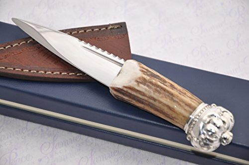 (Genuine Sambar Stag Handle Sheffield Carbon Steel Sgian Dubh Boxed with Leather Sheath Sterling Silver Cap)