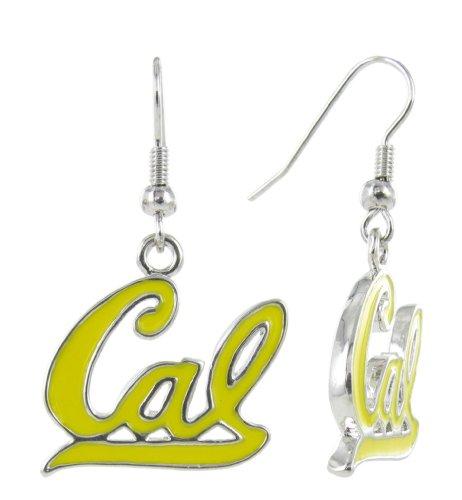 RhinestoneU NCAA California Golden Bears Yellow Enamel UC Berkeley Cal Fish Hook Earrings, One Size -