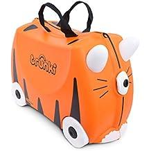 Trunki Original Kids Ride-On Suitcase and Carry-On Luggage – Tipu Tiger (Orange)