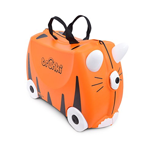 Trunki Original Kids Ride-On Suitcase and Carry-On Luggage - Tipu Tiger (Orange) (Luggage Trunki Childrens)