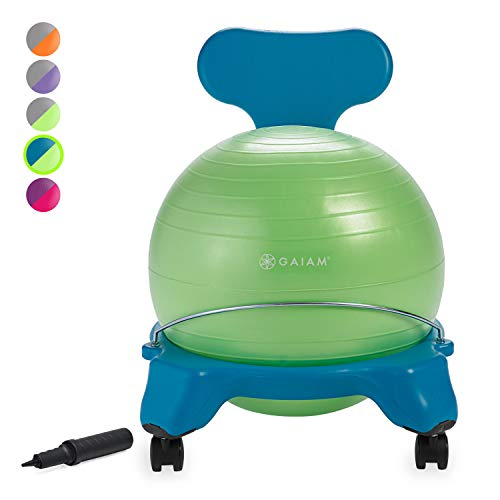 Gaiam Kids Balance Ball Chair - Classic Children's Stability Ball Chair, Alternative School Classroom Flexible Desk Seating for Active Students with Satisfaction Guarantee, -