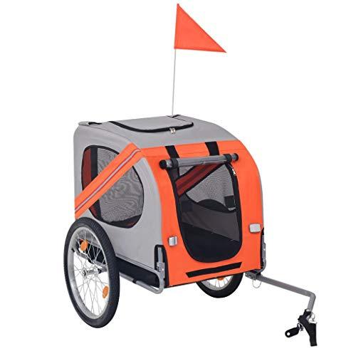 Festnight- Remolque de Bicicleta para Perros Naranja y Gris Tela Oxford + Estructura de Acero: Amazon.es: Hogar