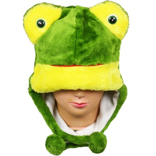1920s Safari Costume (Animal Plush Fluffy Warm 100% Polyester (US Seller)Frog_Pom-Pom Winter Animal Hat Fashion Cap)