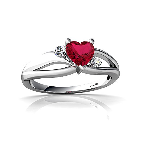 14kt White Gold Lab Ruby and Diamond 5mm Heart Split Band Swirl Ring - Size 8 ()