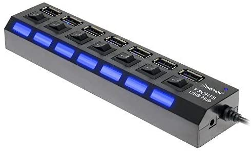 689421 7-Port USB 2.0 Hub High Speed ON//Off Sharing Switch for PC Laptop