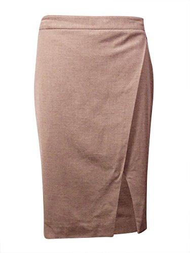 RALPH LAUREN Lauren Women's Woven Faux-Wrap Skirt (16, Light Taupe Heather) -