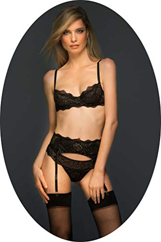 Colette & Sebastian Premium Evelyn Unlined Demi Cup; Color Black and Gold, Size 36D. Upper Piece of Luxury Lingerie Set for Women