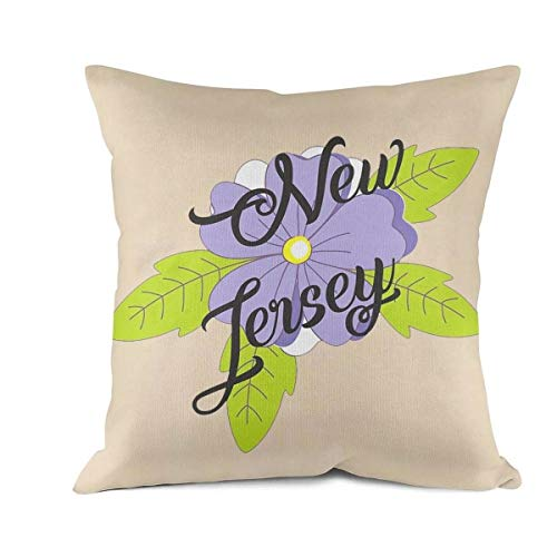 - Heart Wolf New Jersey State Flower Throw Pillow Covers 45x45cm Allergy Control Comfortable Waterproof Cushion Cove Retro Anti-Bacterial Cushion Pillow Cover
