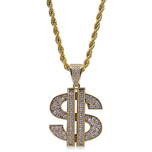 TOPGRILLZ Hip Hop Iced Out CZ Lab Simulated Diamond Bling Solid Gold Chain for Men with Dollar Sign Pendant Necklace (Gold Item A)