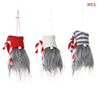 honuansortory 3pcs/Set Christmas Handmade Crutch Swedish Gnome Doll Ornaments Holiday Home Party Decor Kids Xmas Gift
