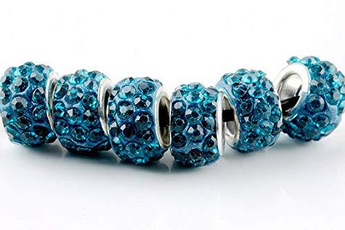 (Werrox 20 Quantity Silver Murano Glass Beads LAMPWORK Fit European Charm Bracelet DIY | Model BRCLT - 20632 |)