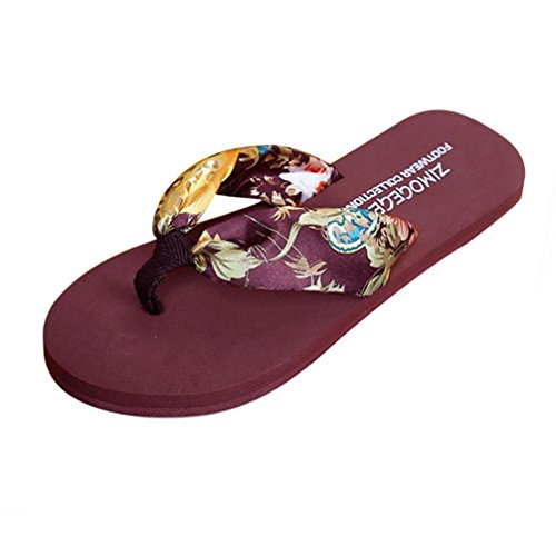 Yogogo Damen Zehentrenner, Sommer Sandalen Slipper Indoor Outdoor Flip-Flops Strand Schuhe Braun