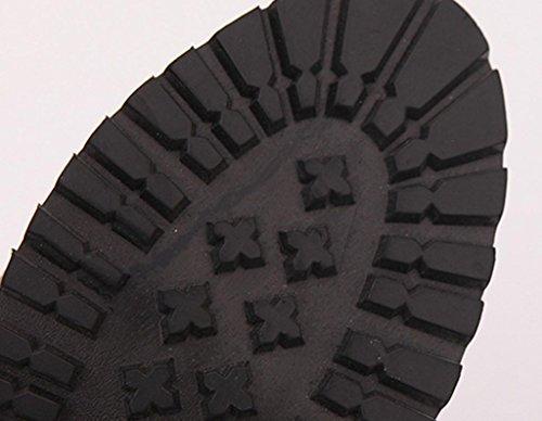 Gris Botas Alto de tobillo LMMVP rodilla Hebilla Recortar para Rojo Zapatos Plano Sobre Casual la de Botas negro mujer Gris mujer altas Delgado vH4wrv