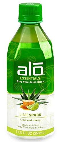 Alo Essentials Aloe Vera Juice Drink, Lime Spark, 11.8 OZ, Pack of 12