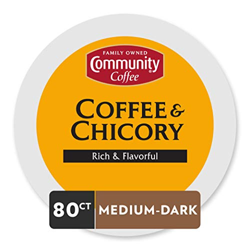 Community Coffee and Chicory Medium Dark Roast Single Serve 80 Ct Box, Compatible with Keurig 2.0 K Cup Brewers, Full Body Rich Flavorful Taste, 100% Arabica Beans