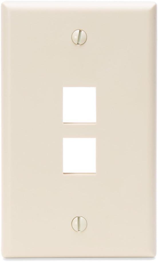 Leviton 41080-2TP 2-Port QuickPort Wall Plate, Light Almond