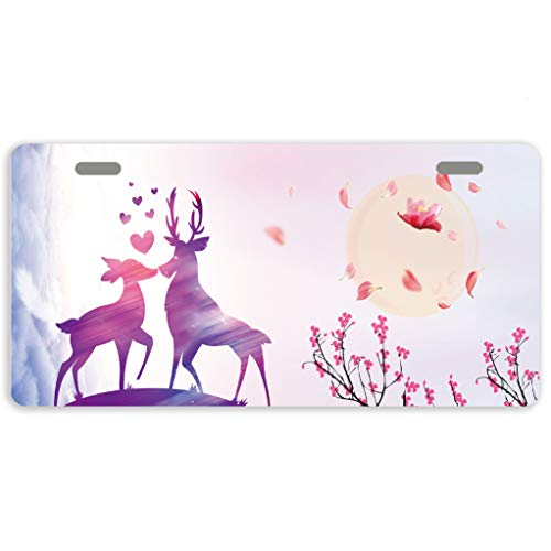Eprocase License Plate Cover Valentine's Day Deers Novelty Tag Aluminum Car Plate Decorative Car Tag Sign Metal Auto Tag Front License Plate 2 Holes (11.8