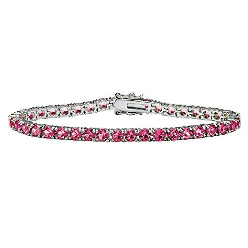 (Palm Beach Jewelry Silvertone Round Simulated Birthstone Tennis Bracelet 7