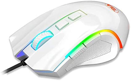 Redragon M602 RGB Wired Gaming Mouse RGB Spectrum Backlit Ergonomic Mouse Griffin Programmable with 7 Backlight Modes up to 7200 DPI for Windows PC Gamers (White) 4127iQEe2YL