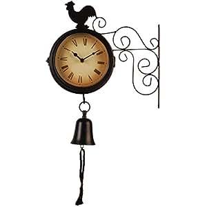 Bentley Garden negro de doble cara reloj de pared con diseño de gallo y una campana