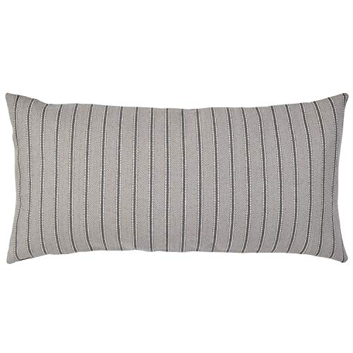 Stone Beam Classic Ticking Stripe Throw Pillow – 12 x 24 Inch, Pewter