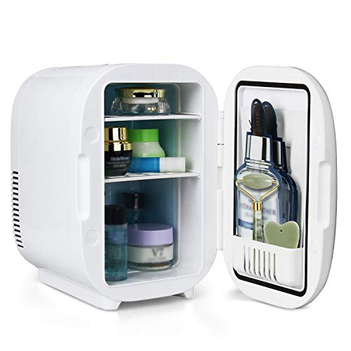 Mini Skin Care Fridge for Makeup and Cosmetic,6 Liter/8 Can Portable Compact Beauty Fridge Cooler and Warmer for Bedroom, Office, Dorm, Car